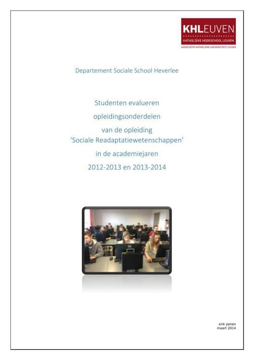 Kengetallenrapport SRW 2013-2014 sem 1