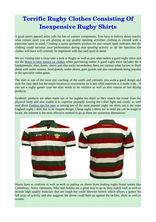 Terrific Rugby Clothes Consisting Of Inexpensive Rugby Shirts