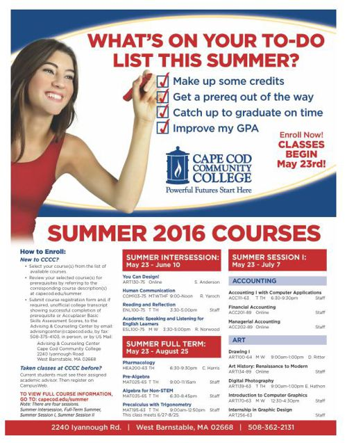 Summer Classes 2016 Cape Cod Community College