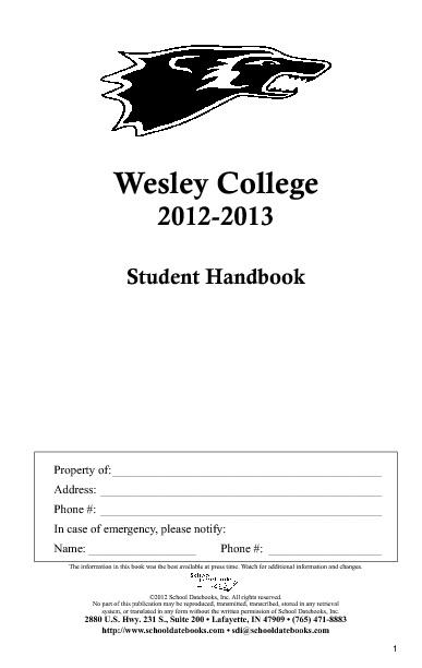 Wesley Student Handbook