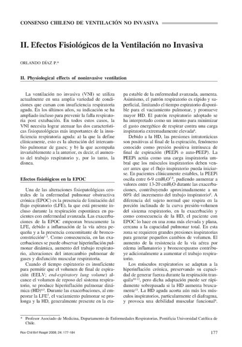efectos fisiologicos de la ventilacion no invasiva