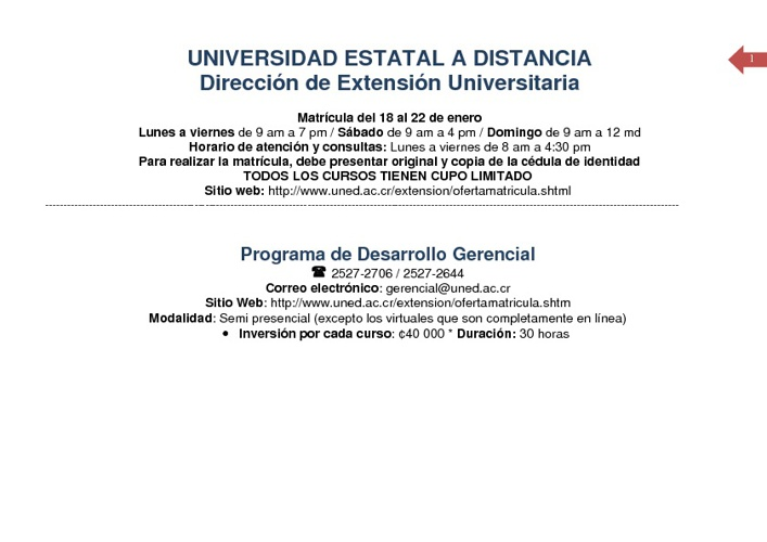 Oferta de Matrícula Enero 2012 - DIREXTU
