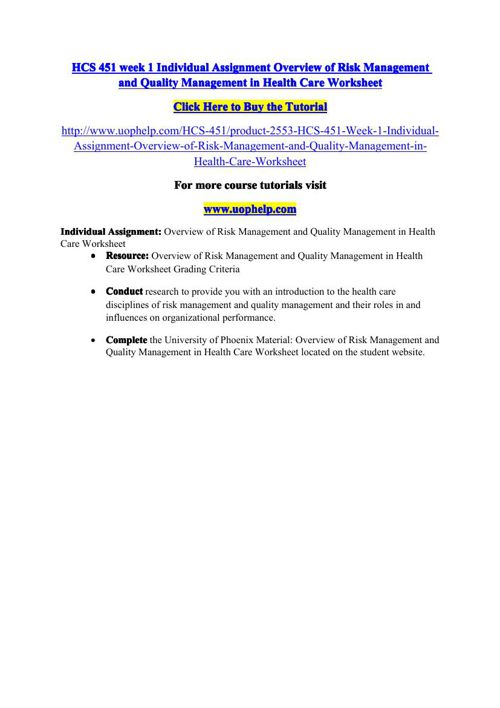 HCS 451 week 1 Individual Assignment Overview of Risk Management