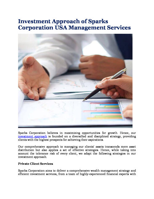 Investment Approach of Sparks Corporation USA Management Service
