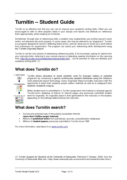 Turnitin Student Guide 2012