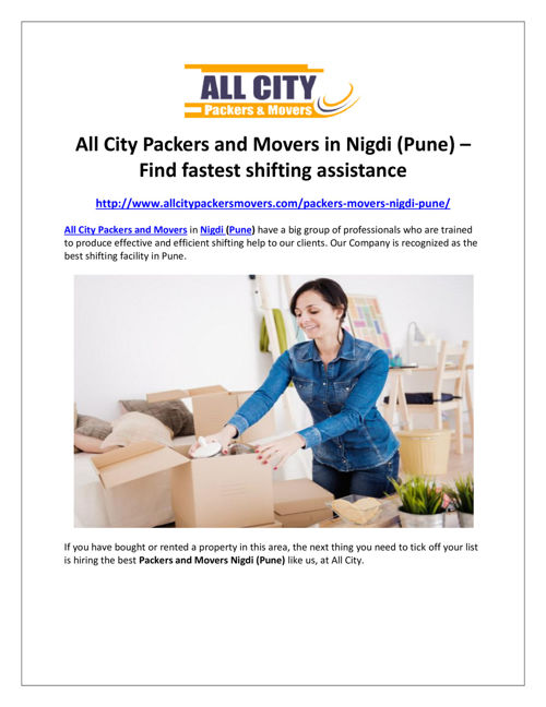 All City Packers and Movers in Nigdi