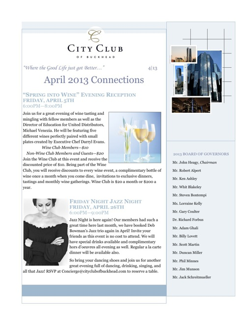 CCB April 2013 Newsletter