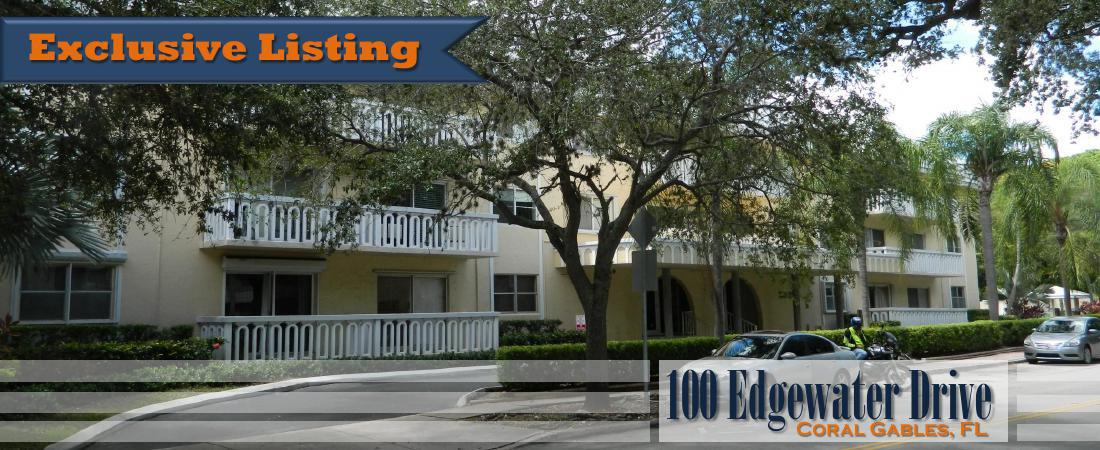 CONDO FOR SALE  $210,000: 100 Edgewater Dr.  |  Coral Gables, FL
