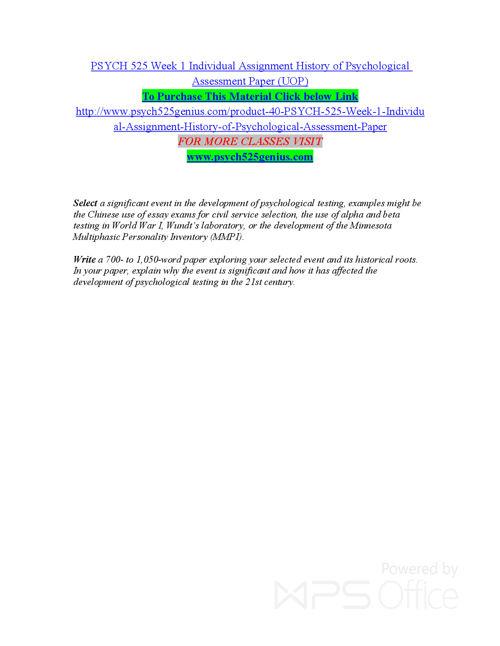 PSYCH 525 GENIUS Entire course /psych525genius.com