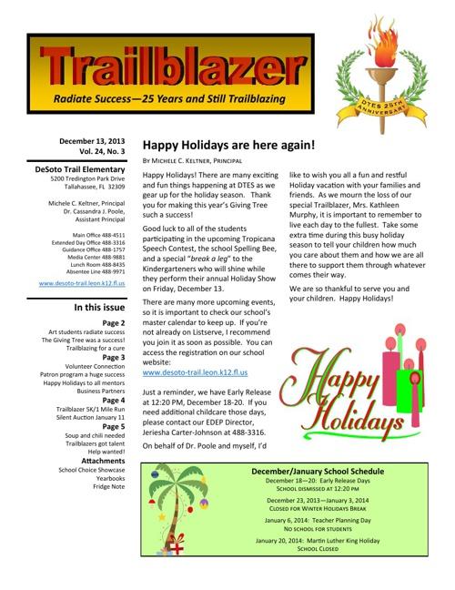December 2013-January 2014 Trailblazer Newsletter