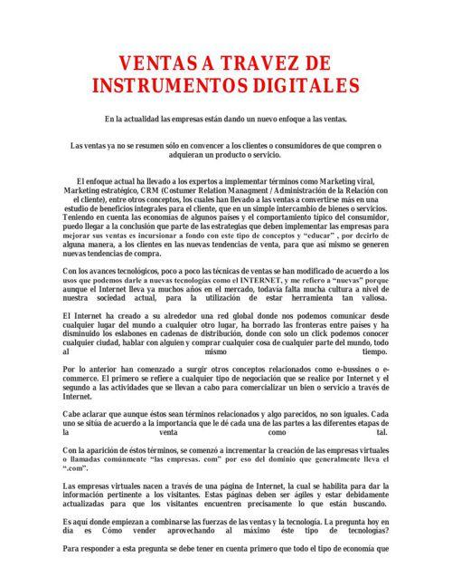 VENTAS A TRAVEZ DE INSTRUMENTOS DIGITALES
