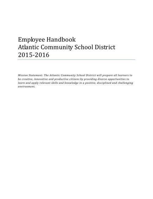 Employee Handbook Atlantic Community School District  - Final Po
