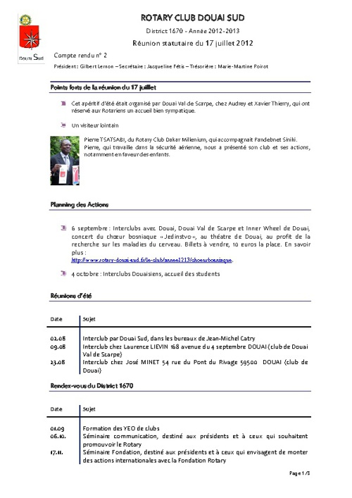 RC Douai Sud - Compte rendu du 17 juillet 2012