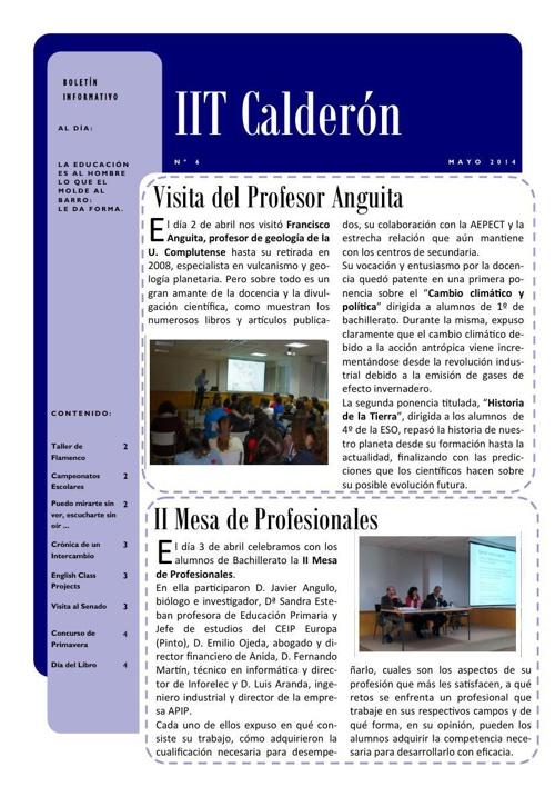 Boletín de mayo del IES Calderón de la Barca