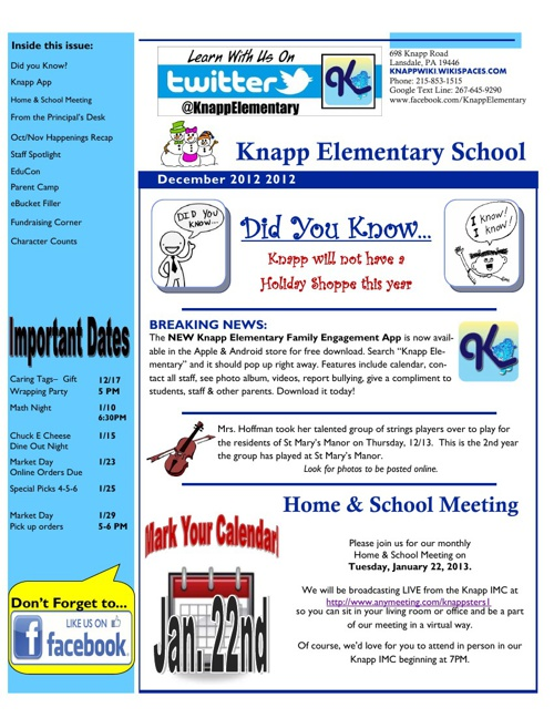 Knapp December 2012 eNewsletter