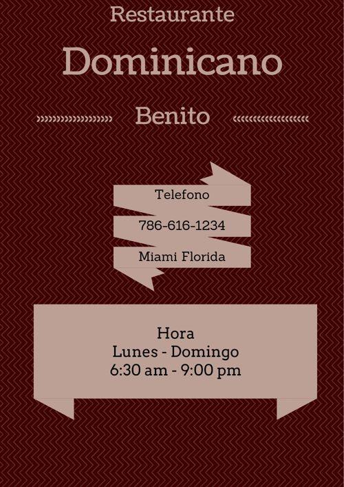 Benito's Menu