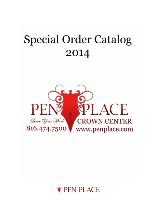 Pen Place 2014 Special Order Catalog