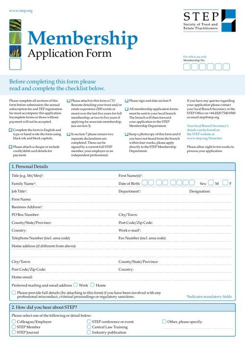 STEP Membership Application Form