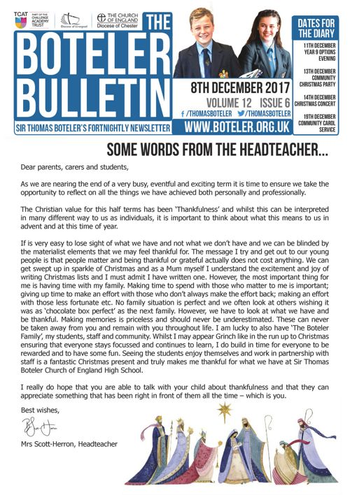 Boteler Bulletin 8th December 2017