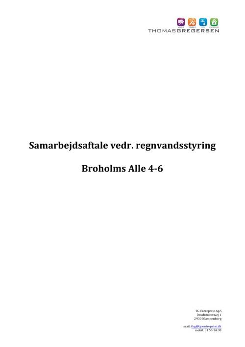 Samarbejdsaftale vedr. nedsivning af regnvand Broholms Alle 4-6