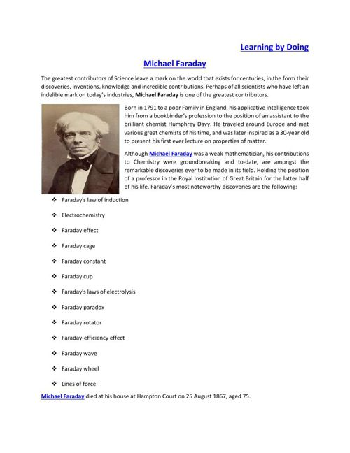 Michael Faraday | Contributions to Science