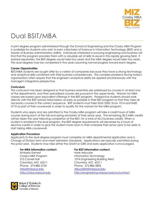 BSIT-MBA Dual Degree Information