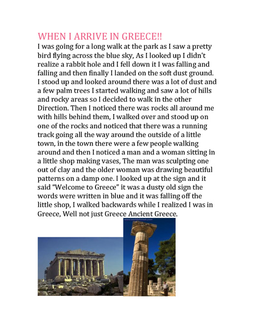 My Trip to Ancient Greece