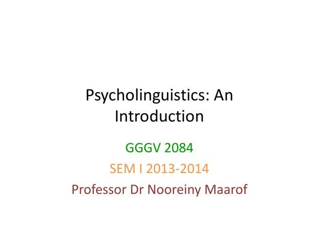 Intro Psycholing