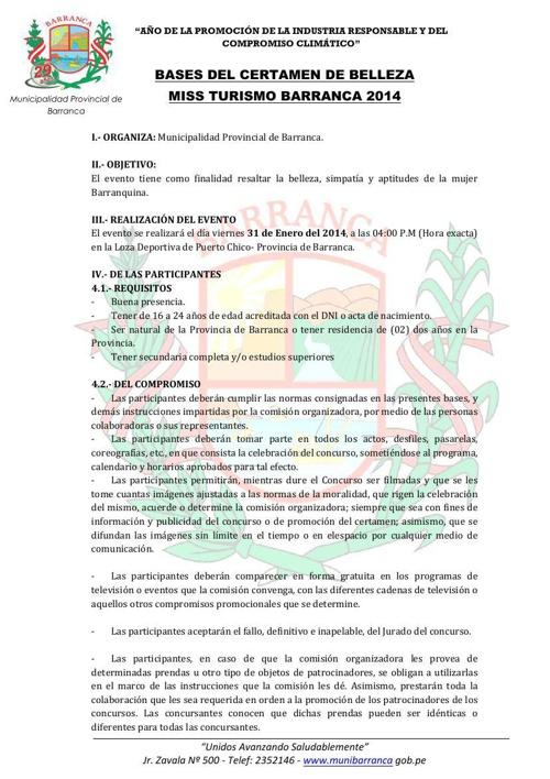 BASES DEL MISS TURISMO PROVINCIA BARRANCA 2014