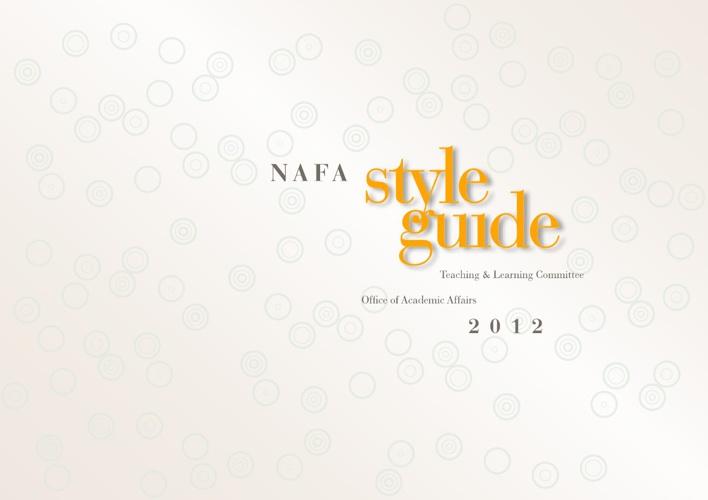 NAFA Style Guide