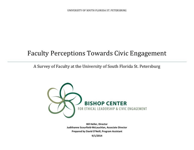 USFSP Faculty Perceptions Towards Civic Engagement