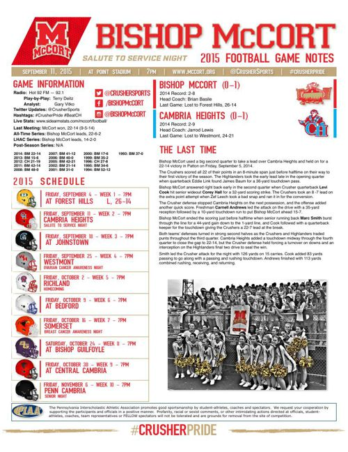 Week 2 Game Notes vs Cambria Heights