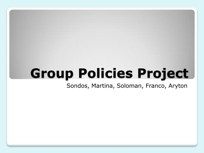 Group Policies Project