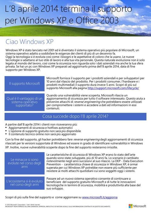 La fine del supporto di Windows XP - Flyer
