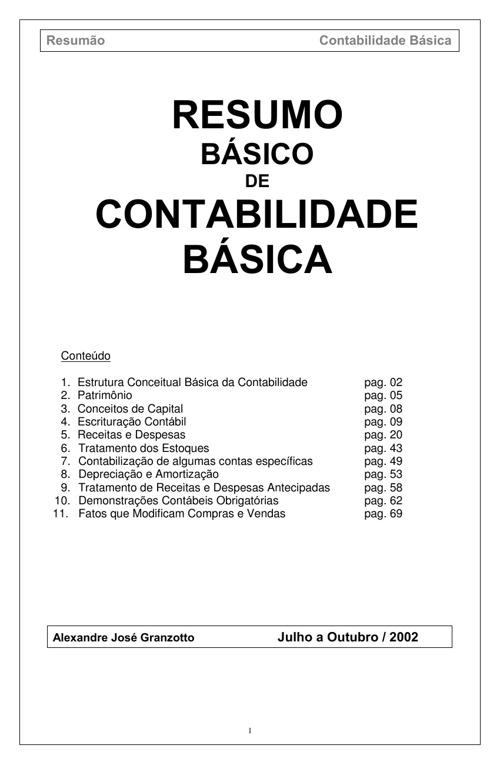 RESUMO BÁSICO DE CONTABILIDADE