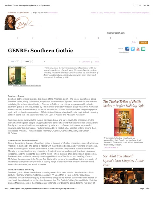 """""""A Good Man is Hard to Find"""" and Southern Gothic Literature"""