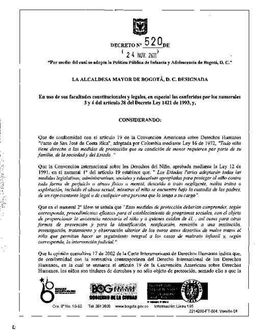 DECRETO 520 DE 2011- POLITICA PUBLICA DE INFANCIA Y ADOLESCENCIA