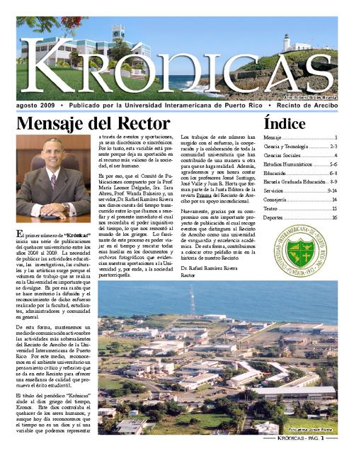 Periódico Krónicas - agosto 2009
