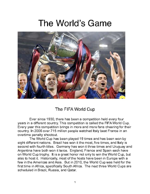 The World's Game (Soccer)