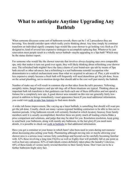What to anticipate Anytime Upgrading Any Bathtub
