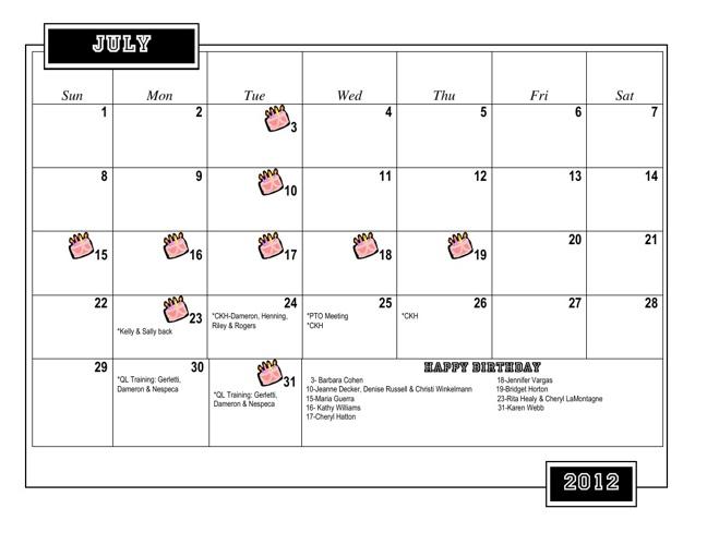 Master Calendar (March 19, 2013)