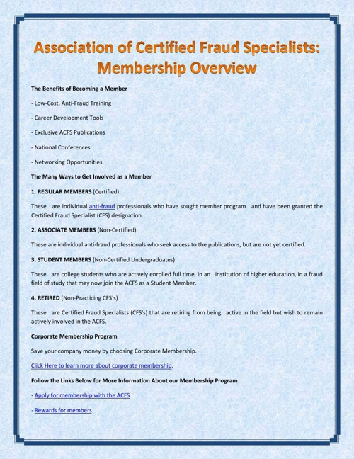Association of Certified Fraud Specialists: Membership Overview