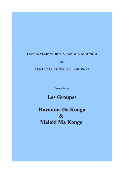 ENSEIGNEMENT DE LA LANGUE KIKONGO