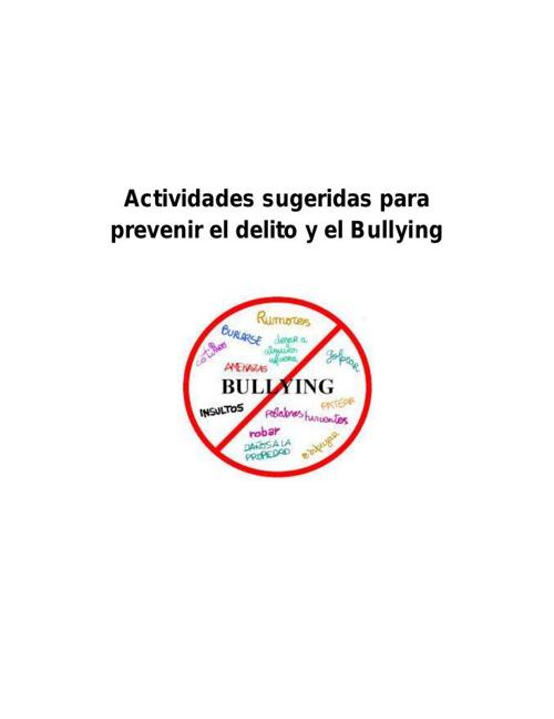 Actividades sugeridas para prevenir el delito y el Bullying