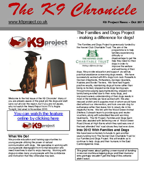 K9 Project News - Issue 1 2011