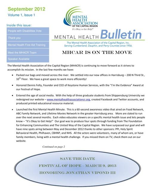 September 2012 Mental Health Bulletin