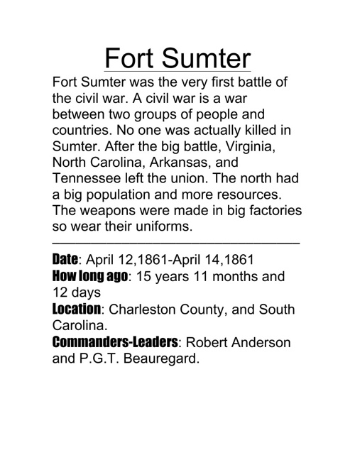 fort sumter by hunter