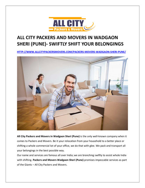 All city packers and movers in Wadgaon Sheri (Pune)- swiftly