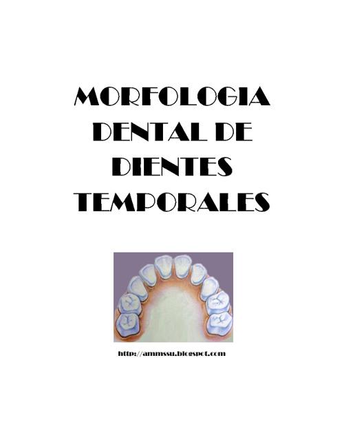 Libro Morfologia Dientes Temporales