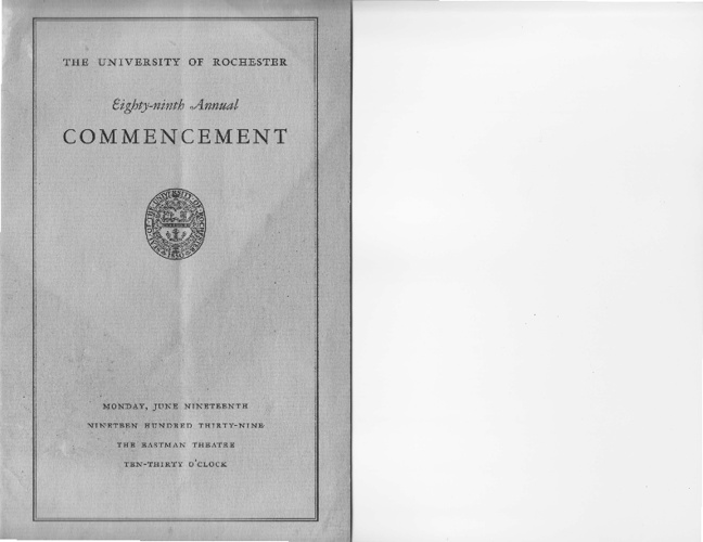 1939 University of Rochester Commencement Program